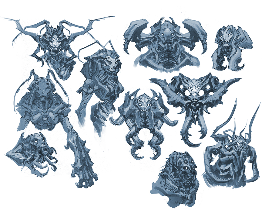 Character Concept Art From Initial Sketch To Final Design : Darksiders bosses